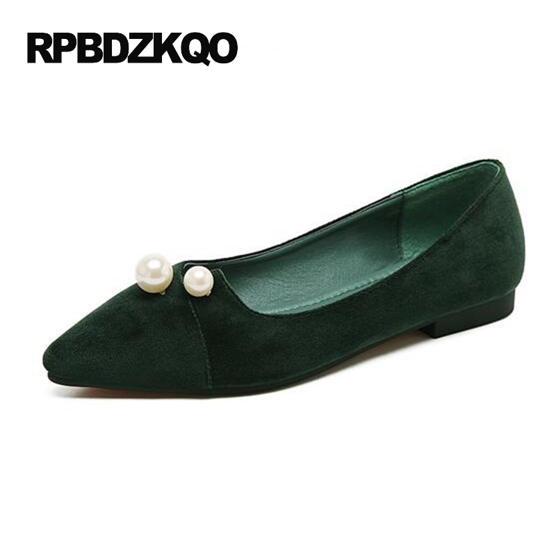 Pointed Toe 2017 Green Suede Ladies Women Dress Shoes Pink Party Shallow Velvet Flats China Pearl Spring Autumn Fashion Latest new 2017 spring summer women shoes pointed toe high quality brand fashion womens flats ladies plus size 41 sweet flock t179
