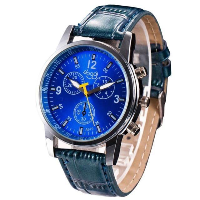 Crocodile Leather Band Alloy Quartz Wrist Watch 3