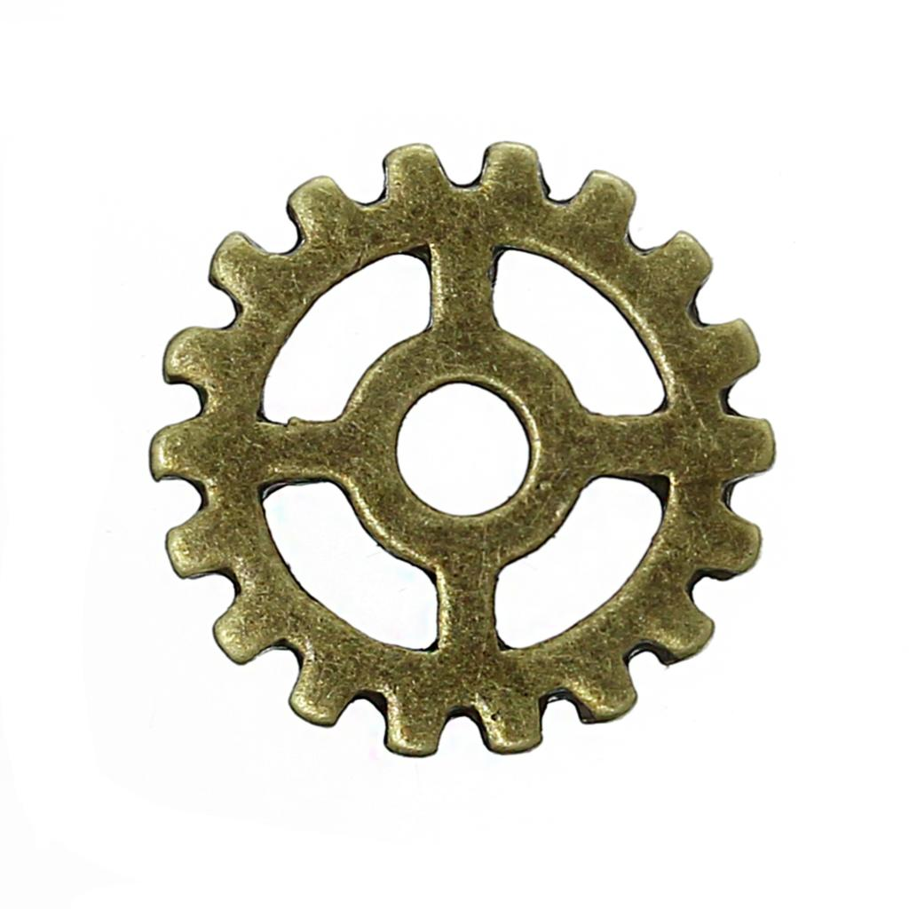 DoreenBeads Zinc Metal Alloy Embellishments Findings Gear Antique Bronze 15mm( 5/8