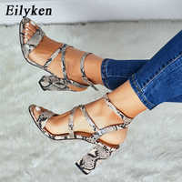 Eilyken Women Summer Sandals Open toe snake PU leather shoes woman zapatos mujer Ladies chunky high heels pumps chaussure femme