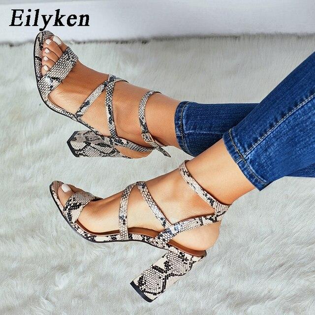 Eilyken sandalias de verano de mujer zapatos de cuero PU de serpiente con punta abierta para mujer