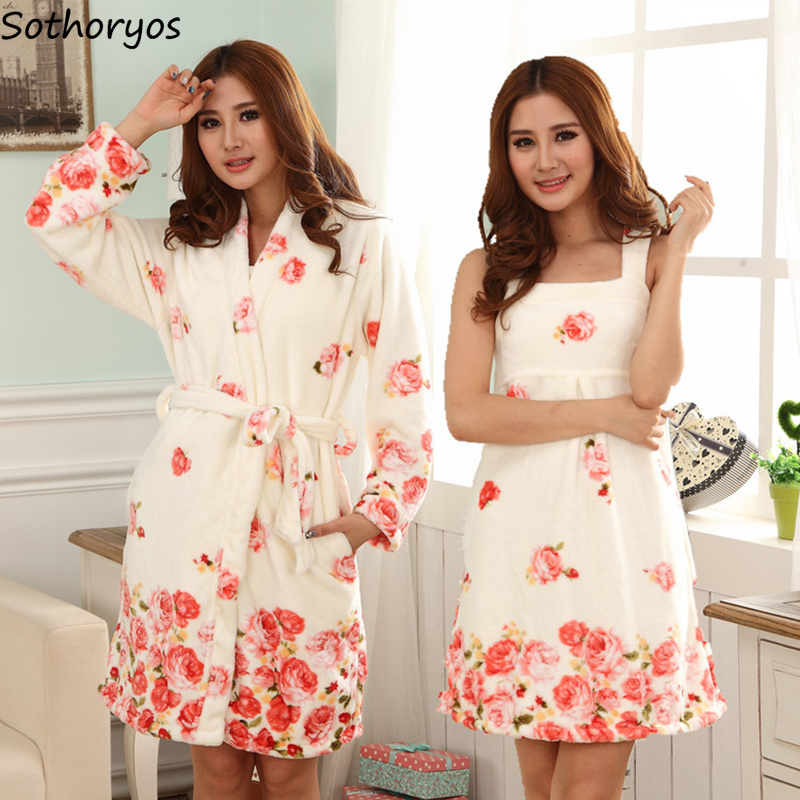 Robes Women Thicker Floral Warm Korean Style Flannel Knee-Length Robe Womens Long Sleeve Kawaii Leisure Gown Sets Ladies Cute