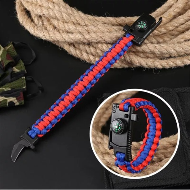 Outdoor Camping Multi-function Survival Bracelet with Knife Whistle Compass Hiking Travel Rescue Paracord Braided Wristband Tool