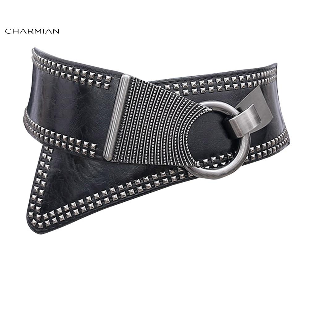 Charmian Women's Vintage Steampunk Corset Belt Fashion Gothic Rivets Waist Belt Punk Rock Clothing Costume Accessories