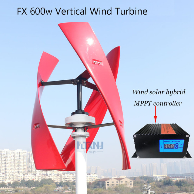 New arrival  Wind Generator 600w 24V12V Vertical axis Wind Turbine with 600w wind solar hybrid controller for home use