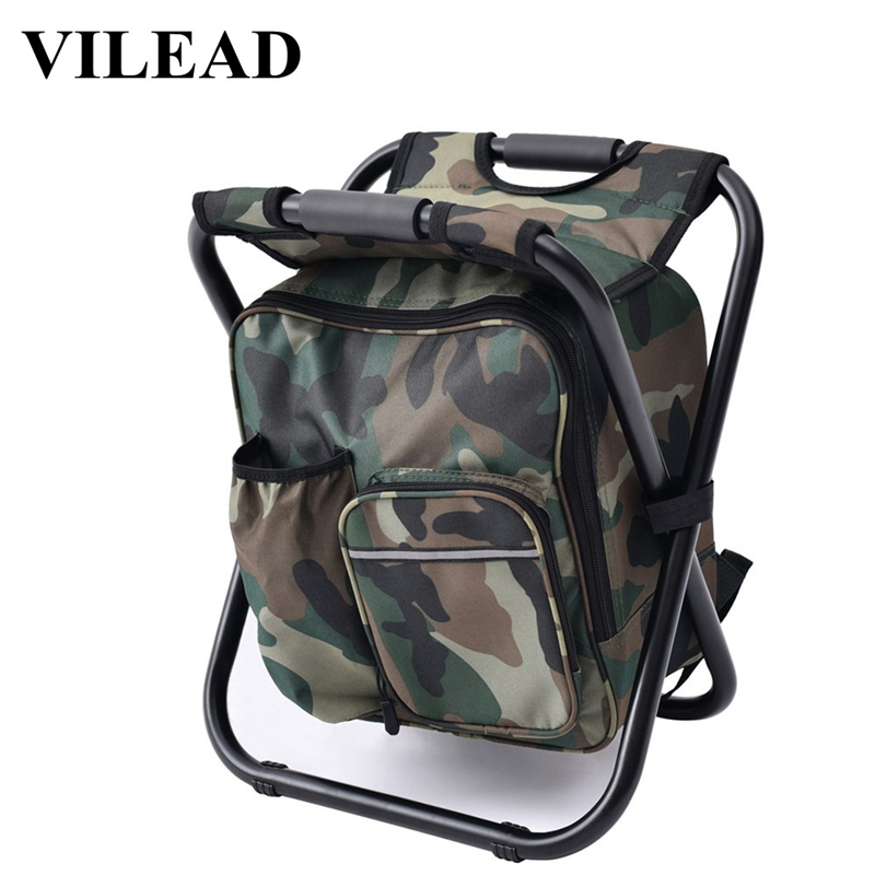 Vilead Ultralight Camping Fishing Chair With Cooler Bag Portable Folding Aluminum Alloy Stool Backpack Picnic Bag Bbq Travel