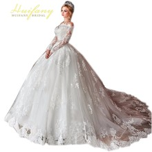 Robe De Soiree Luxury Off Shoulder Long Sleeve Lace Applique Wedding Dress Court Train Ball Gown Bride Dresses  Vestido De Noiva