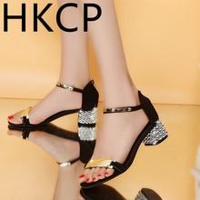 HKCP Sandals for women with kitten heels 2019 new catch-all strappy sandals for women with chunky gladiator heels C081 rivet detail gladiator chunky heels
