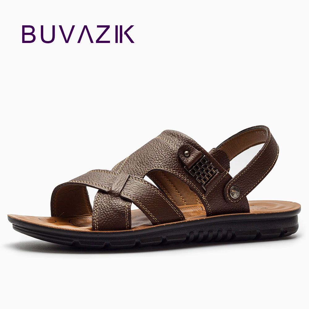 BUVAZIK Genuine Leather high quality sandals men , waterproof and wearable comfortable soft casual flat sandals for 2018 summer