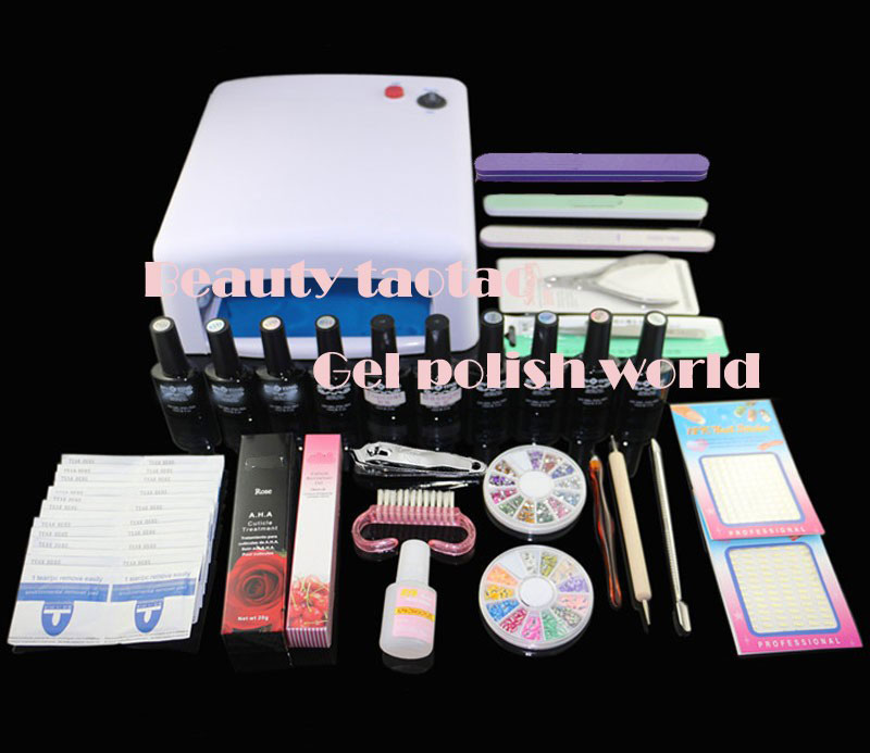 BTT-121   free shipping Pro gel polish set ,nail art gel polish manicure kit , uv gel kit ,8colors of gel polish ,base +topcoat btt 116 free shipping pro 36w uv dryer acrylic nail art set acrylic nail kit kit nail gel kit gel nails set with lamp