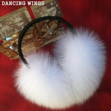 DANCING WINGS Winter Women Warm Natural Real Fox Fur Earmuffs Girl's Earlap 6 Colors
