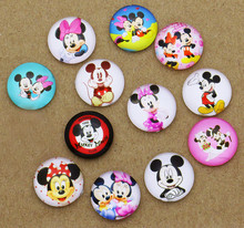 Hot Sale 24pcs 14mm Mickey Mouse Round Cabochons Handmade Photo Glass & Dome DIYJewelry Handmade Cabochon Ornament Fittings