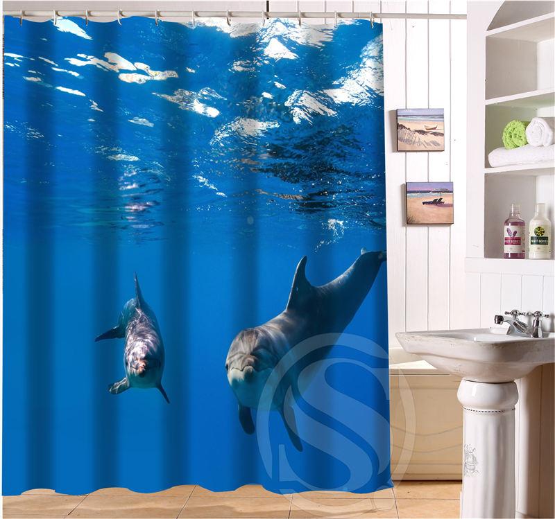 High Quality Free Shipping Custom Cute Dolphin Waterproof Fabric Bathroom Shower Curtain  Home Decoration SQ0622(China (