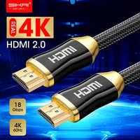 Cabo trançado de grande resistência 18gbs do cabo 18gbs de 4 k hdmi 2.0b com cabo hdmi do áudio & dos ethernet 0.25 m 1 m 2 m 5 m