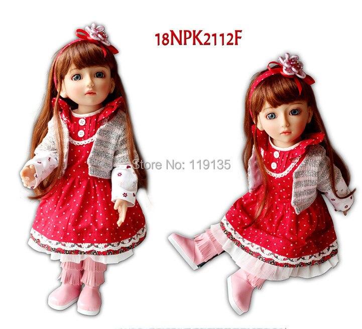 ФОТО Free shipment brown long straight hair AMERICAN GIRL Dolls 18'' Reborn Baby dolls newborn princess child soft girls gift