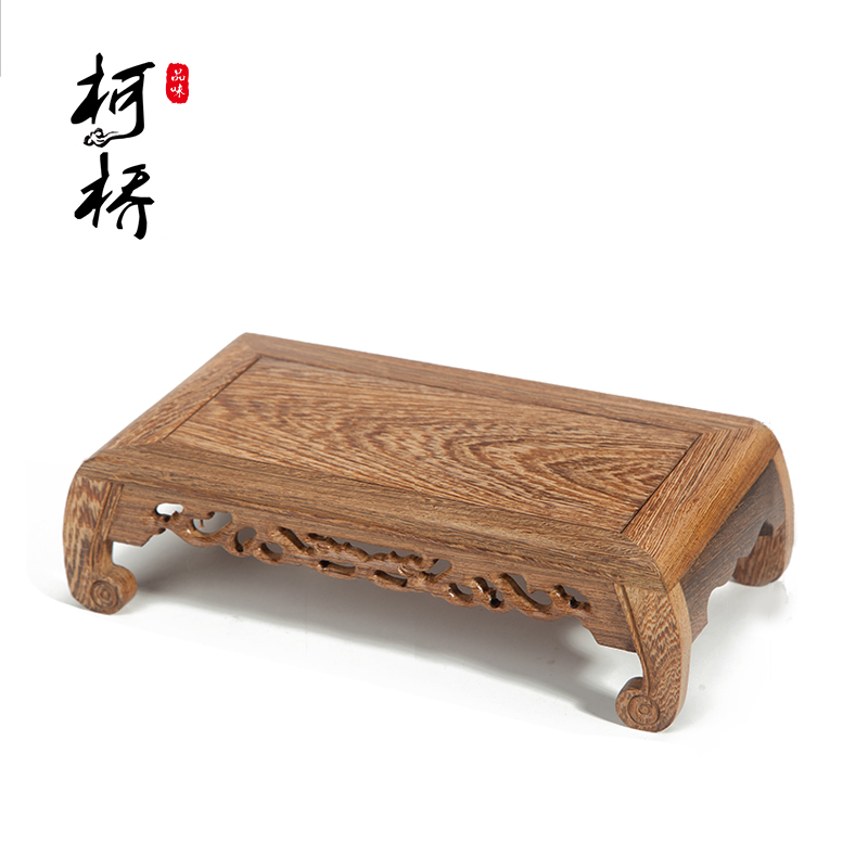 Crafts decoration stone teapot base carved cutout round toe rectangular table piano desk mahogany base
