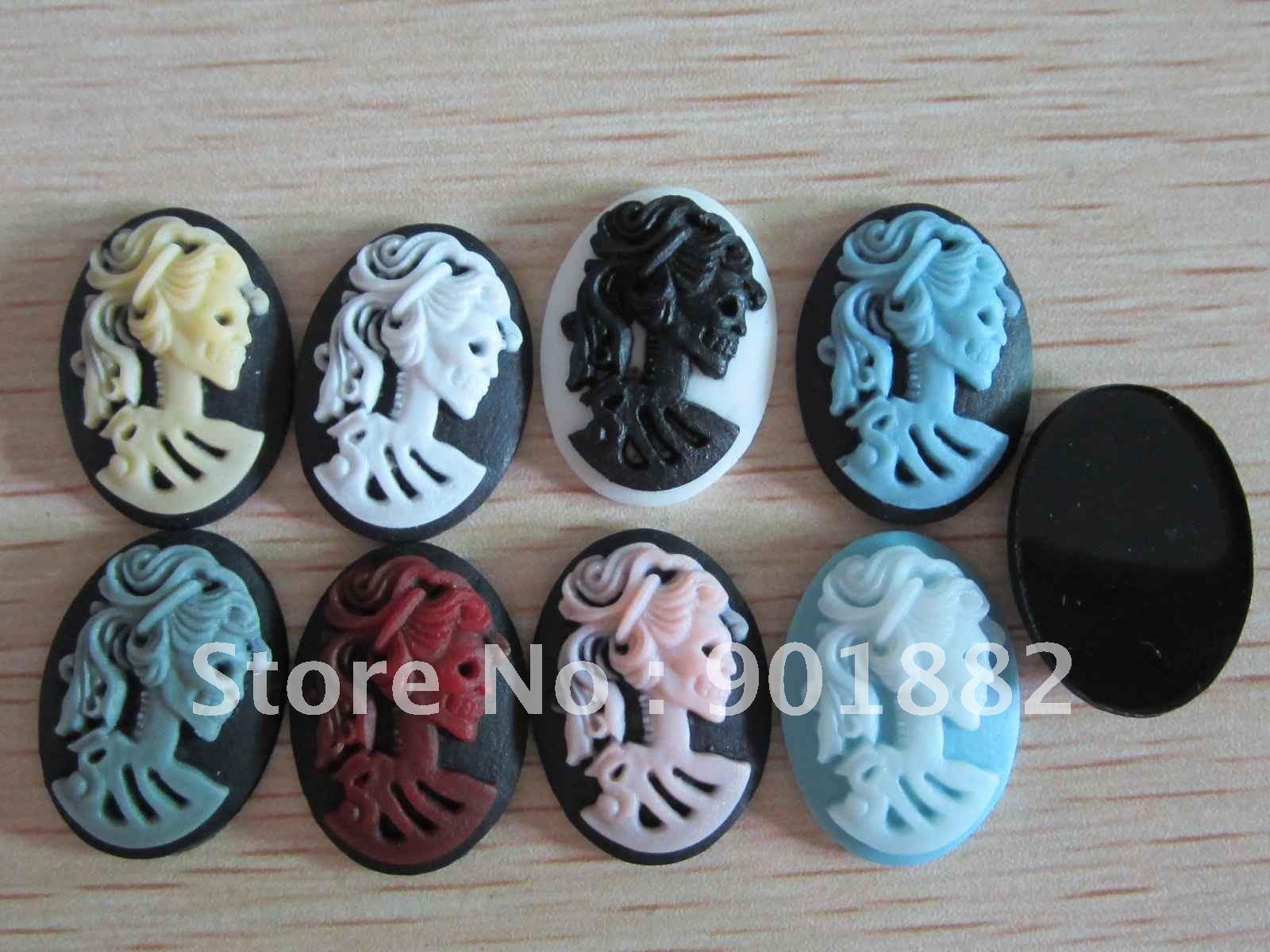 Бесплатная доставка ~! 13*18 мм Разноцветные Flatback Смола череп камея для ювелирных изделий decoration.100pcs/лот