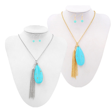 Women Gem Stone Pendant Long Chain Necklace Sweater Statement Jewelry Silver/gold Choker set for Women Girls Jewelry kolye