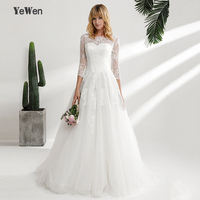 New Design A Line Lace Wedding Dresses 2018 Scoop Neck 3 4 Sleeves Backless Sexy Vintage