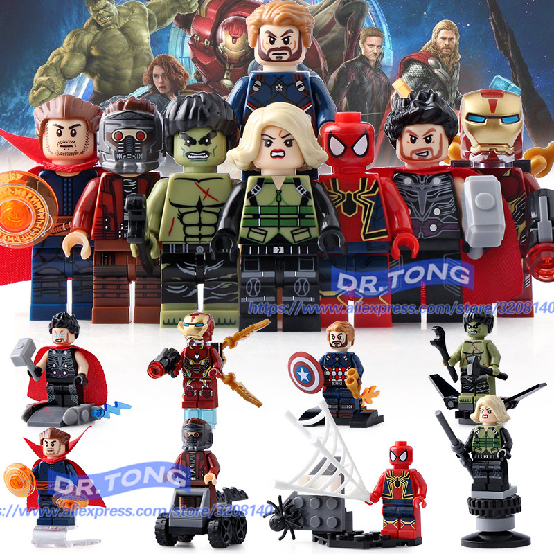 DR.TONG SY687 Super Heroes Captain America Iron Man Thor Hulk Spiderman Superman Building Blocks Bricks Action Children Toys