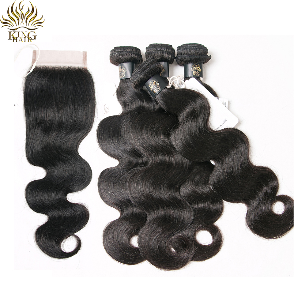 King Hair Products Human Hair Weave Bundles With Closure Remy Hair Weft 4PCS Peruvian Bo ...