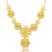 BRZHA Gold Plated Resizable Link Chain Romantic Big Flower Jewelry Wholesale Charm Pendant Necklaces For Women