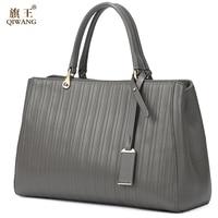 QIWANG Для женщин сумки большой серый из натуральной кожи Для женщин Сумки известный бренд Полосатый большая сумка кошелек для Для женщин Повс
