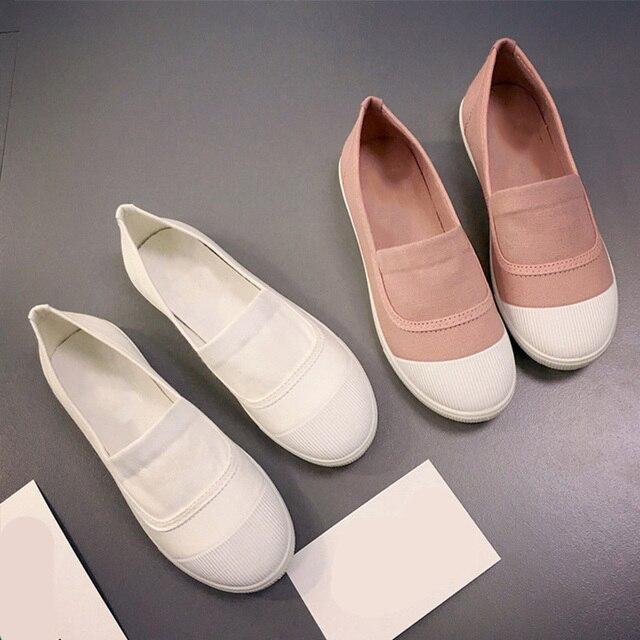 Kadın Kumaş düz ayakkabı günlük mokasen ayakkabı yumuşak tabanlı ayakkabı Beyaz Katı Renk Rahat Sığ Ayakkabı Kızlar Için Ayakkabı Bahar