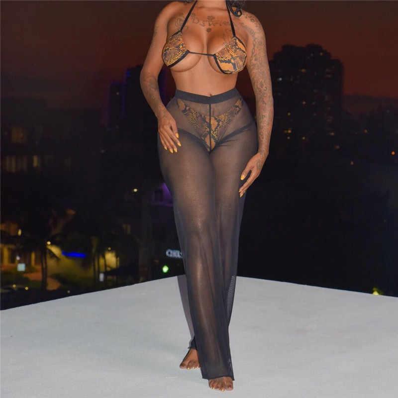 Mulheres Sexy Bikini Cover up Praia Malha Ruffles Sheer Calças Perna Larga Calças de cintura Alta Elegante Solto Transparente Beachwear