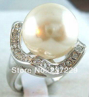 Wholesale price FREE SHIPPING ^^^^Silver Crystal 14MM White Shell Pearl Ring size: 7.8.9