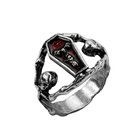 Mens Boys Gothic Vampire Skeleton Skull Bloody Red Enamel Coffin Stainless Steel Ring Biker Jewelry US