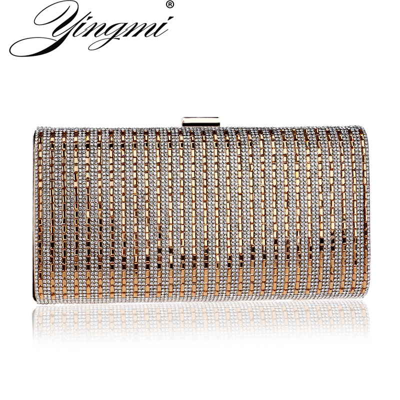 YINGMI One Side Rhinestones Clutch Purse Bag Chain Shoulder Crossbody Handbags Small Wedding Party Evening Bags