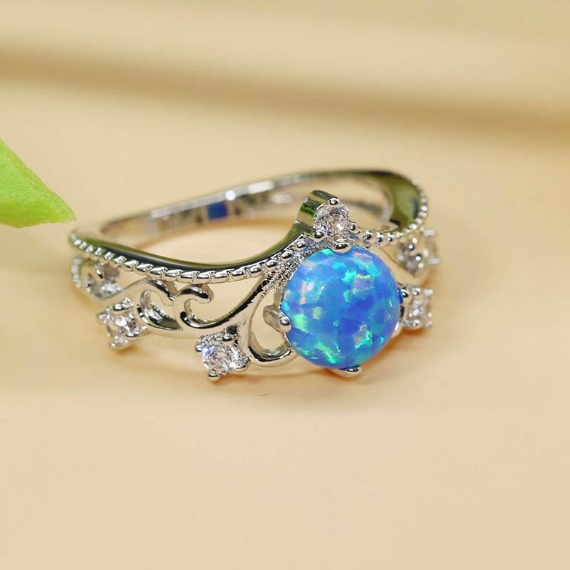 Элегантный сердце вырезать синий кристалл кольцо модные свадебные украшения заполнены Обручение Обещание Кольца