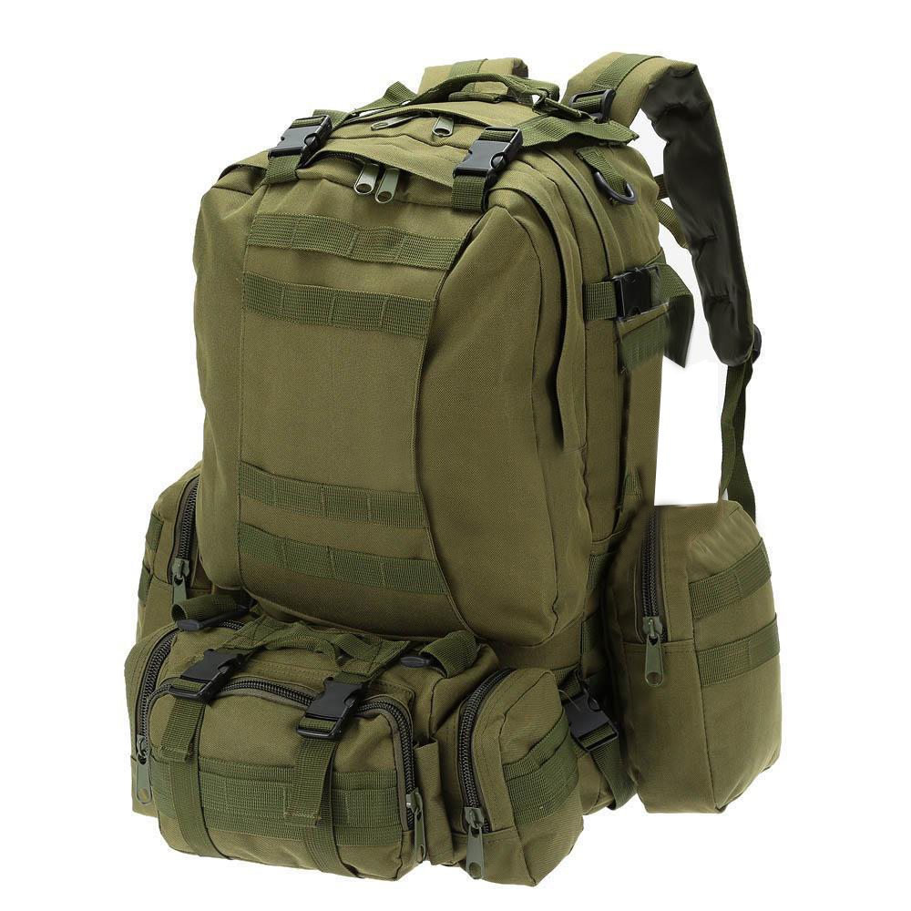 55L Outdoor Army Bag Camping Hiking Trekking Backpack Camo 3P ArmyGreen