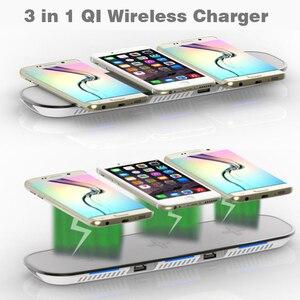 Image 3 - 3 ב 1 צ י אלחוטי מטען עבור iPhone X 8 בתוספת מהיר טעינה אלחוטי Pad עבור סמסונג גלקסי S6 S7 קצה S8 S9 בתוספת הערה 8 9