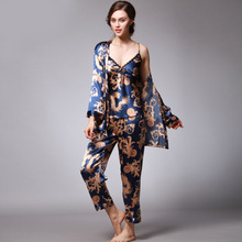 Soft Faux Silk Women Summer Dragon Print Sleep Clothing
