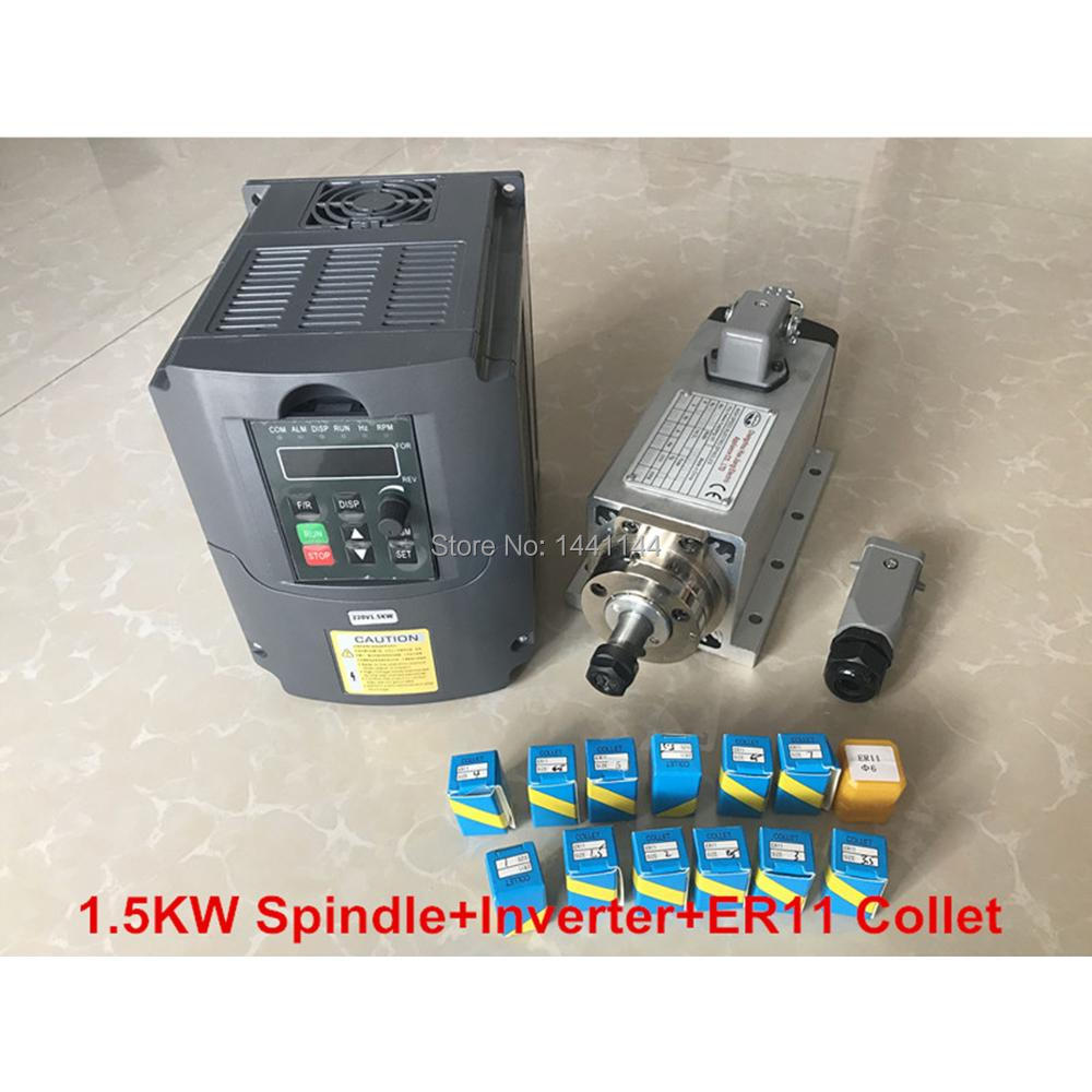 RU Livraison 1.5KW Refroidi Par Air Moteur de Broche CNC Machine Outil Broche + 220 v/1.5KW Onduleur VDF + 1 set Er11 Collet