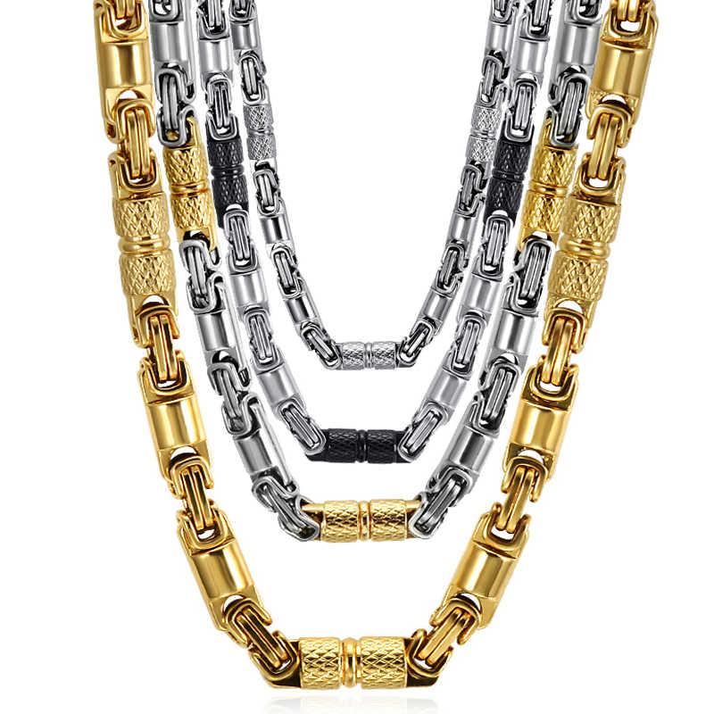HIP Hop Two Tone złoty kolor tytanowa stal nierdzewna 55CM 6MM ciężki Link bizantyjski łańcuchy naszyjniki dla mężczyzn biżuteria