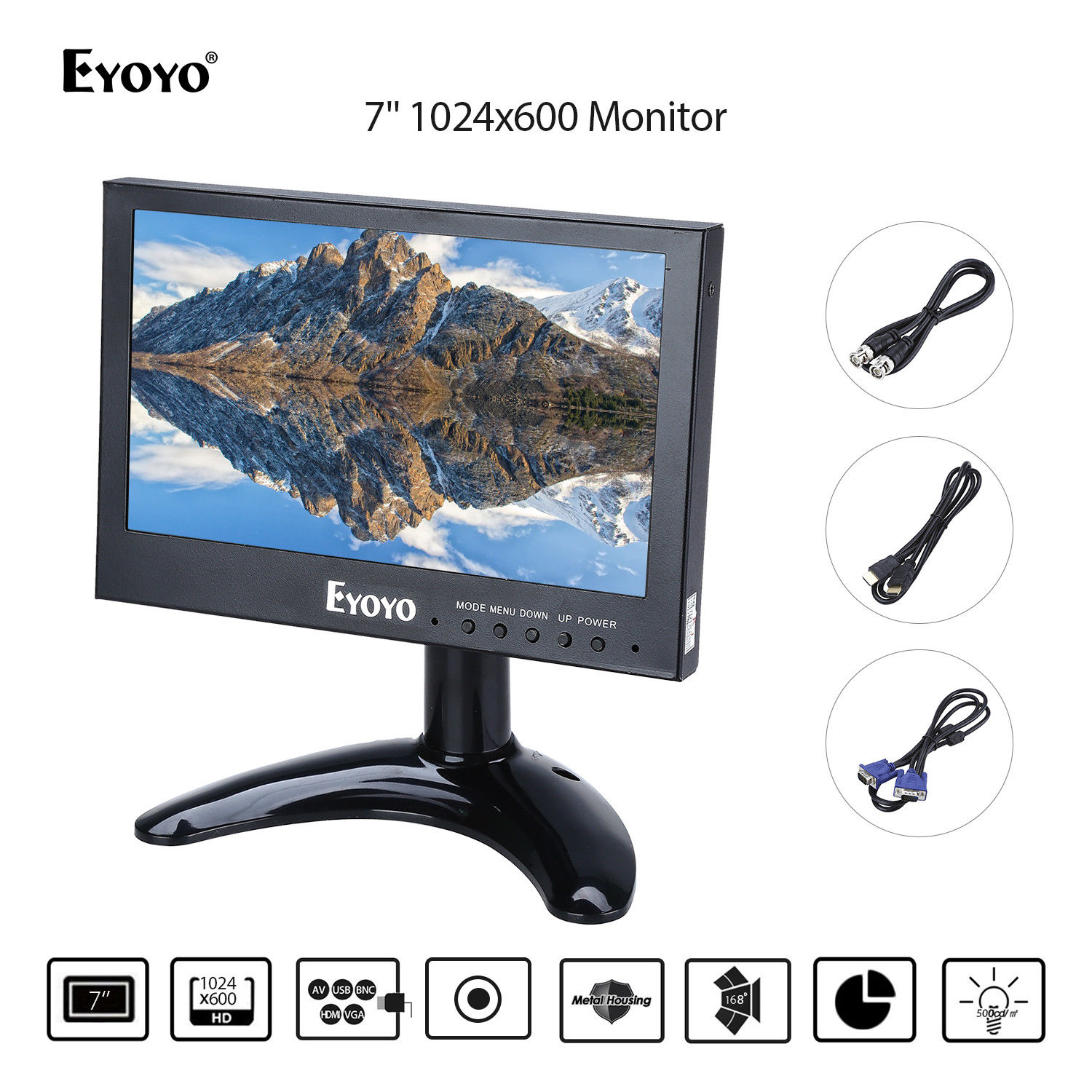 Eyoyo  7 Mini Monitor 1024x768 LCD Screen Display BNC/VGA/AV/HDMI Output Metal Hosing Design 168degree Wide Angle View Black zgynk 10 1 inch open frame industrial monitor metal monitor with vga av bnc hdmi monitor