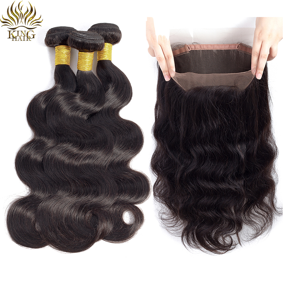 3/4 Bundles With Closure Hair Extensions & Wigs King Hair Human Hair 3 Bundles With Closure Brazilian Body Wave Hair With 360 Frontal Closure Pre Plucked Double Weft Remy Hair