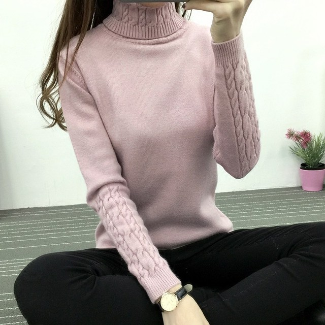 DisappeaRanceLove Brand Women's turtleneck sweater female basic shirt twisted thickening slim pullover sweater