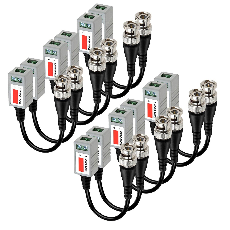20 pces trançado passivo bnc macho transceptor de balun vídeo para cat5 rj45 utp para cctv ahd dvr sistema de câmera de segurança