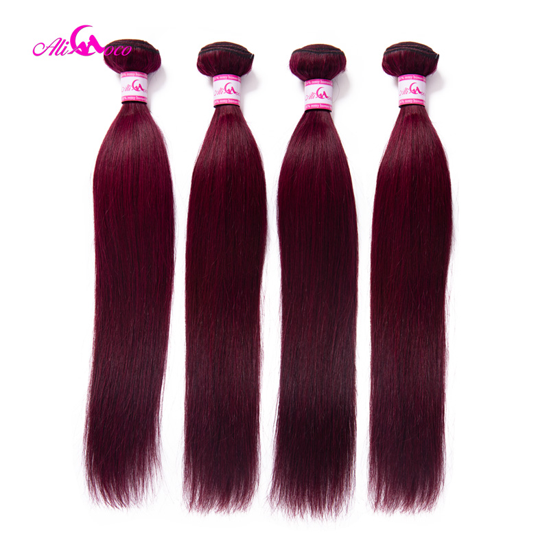 Ali Coco Brazilian Straight Hair 4 Bundles Deals Red #99 Human Hair