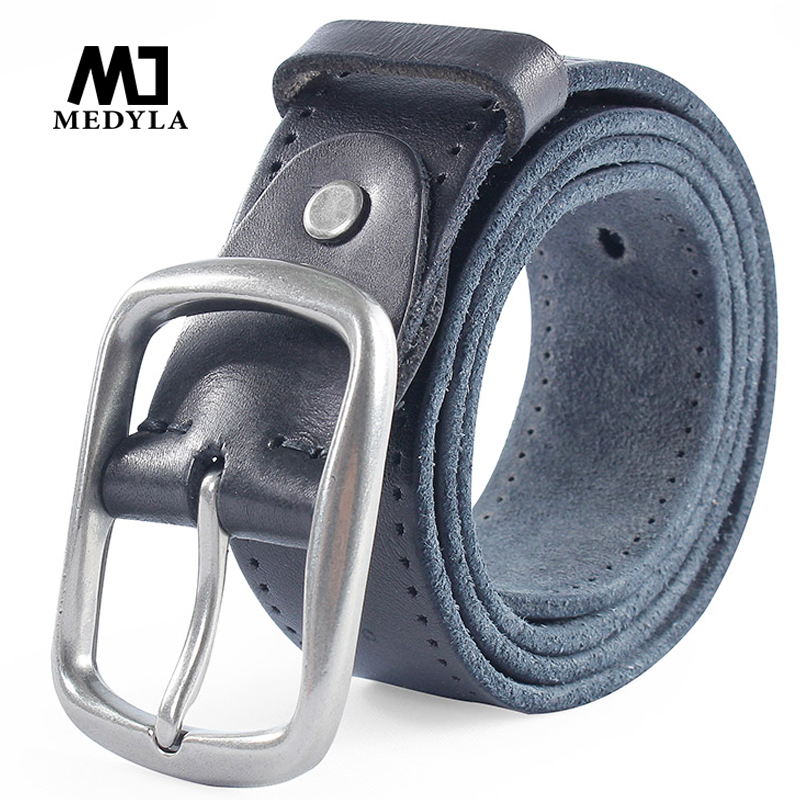 MEDYLA New Brand Leather Belts For Men Casual pants jeans Leather Soft High Quality Genuine Leather Man's Belt MD507 Dropship