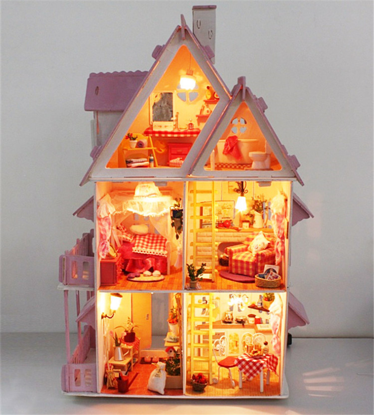 ФОТО Hot Sunshine Alice Pink DIY Wooden Miniatura Doll House Furniture Handmade 3D Miniature Dollhouse Toys Gits casa de boneca