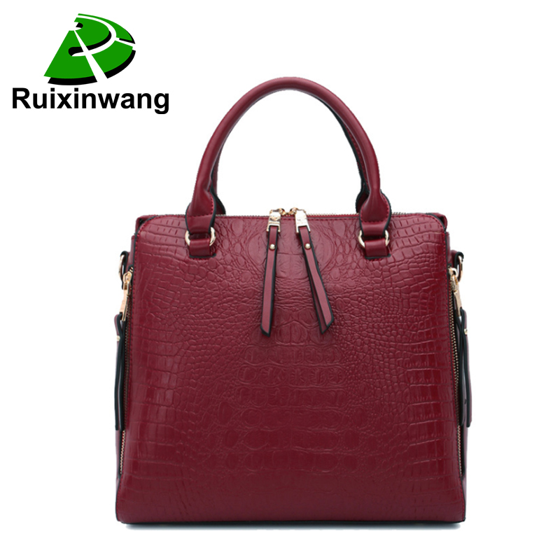 RuiXinWang Brand Genuine Leather Handbags Crocodile Pattern Bags Luxury Women Shoulder Bag Ladies Fashion Messenge Bag soar women leather handbags large women bag shoulder bags ladies brand alligator crocodile pattern hand bags tote female blosa 3