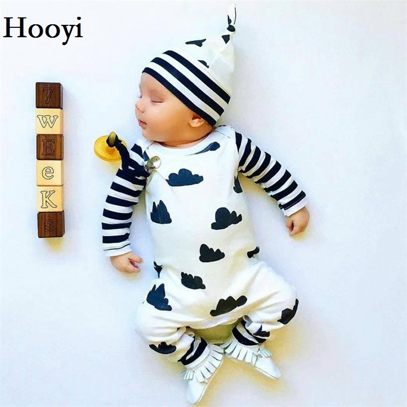 Hooyi White Black Stripe Sleeve Cloud Newborn One-Piece Clothes Boys Romper Infant Jumper Baby Girl Jumpsuit + Hat Set Caps