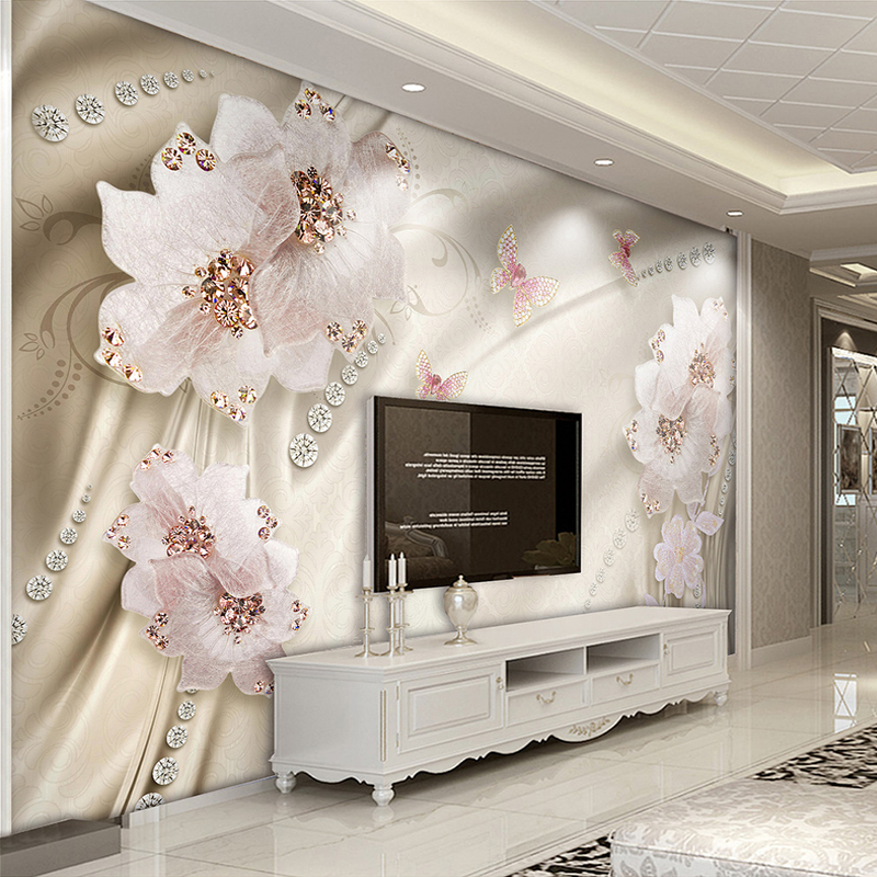 Custom 3D Photo Wallpaper Luxury Jewelry Flower Butterfly TV Background Wall Mural Wallpaper For Living Room Bedroom Home Decor luxury soft roll classical background 3d wall paper room mural rolls photo wallpaper for wall 3 d hotel livingroom bedroom decor
