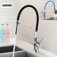 MOIIO New design Kitchen Faucet with Rubber Design Mixer Pull Out Deck Mounted Brass Black/Blue Pull down Kitchen Sink Faucet цена и фото