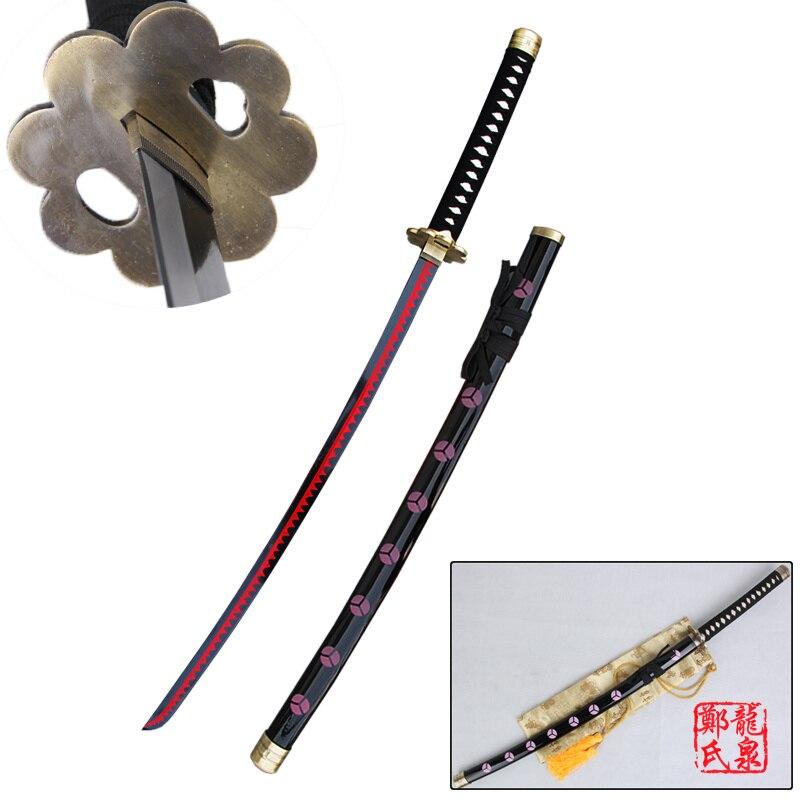Бесплатная доставка Косплэй аниме Одна деталь Зоро меч черный ShusuiSandai Катана реального Сталь лезвие красный декоративное покрытие